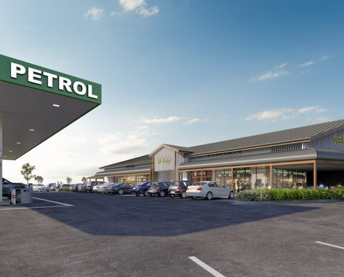 Petrol station design by Paul Ziukelis Architects Gold Coast